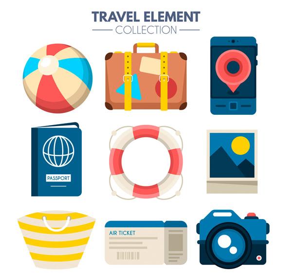 彩色旅行物品设计