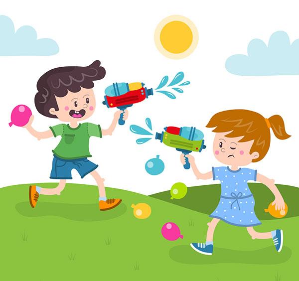 玩水枪的男孩和女孩