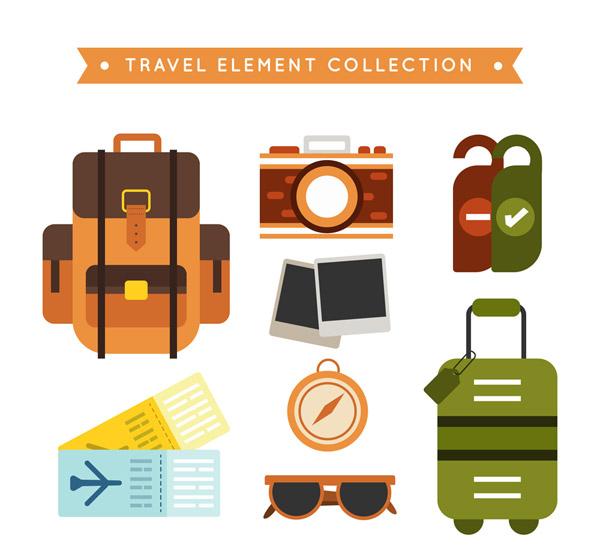 彩色旅行物品
