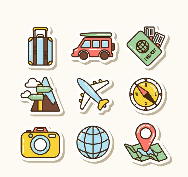 彩色旅行贴纸
