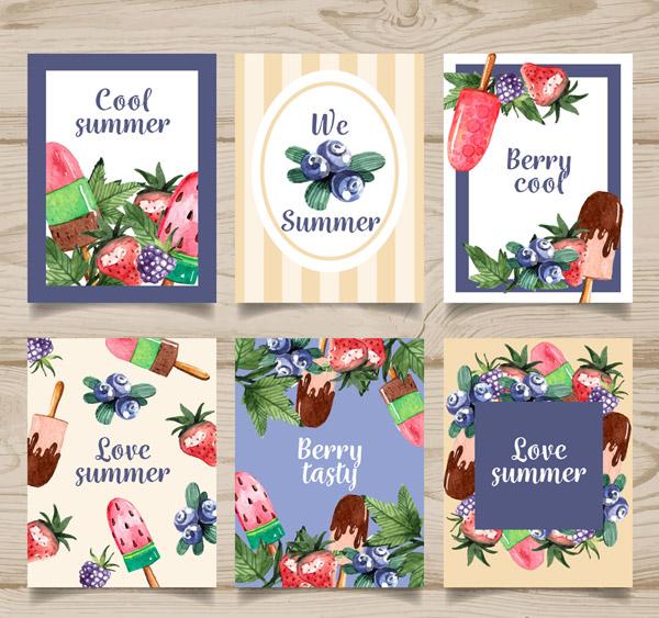 夏季蓝莓和雪糕卡片