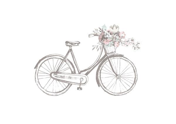 装着鲜花的单车