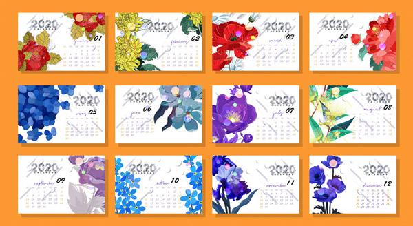 2020年花卉月历卡片