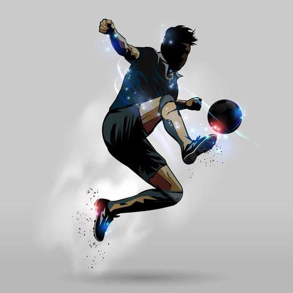 踢足球男子剪影