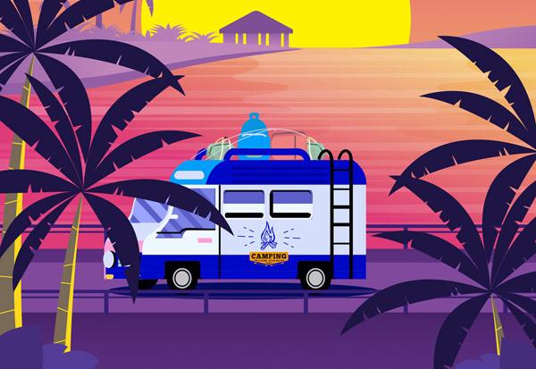 旅行度假海边房车