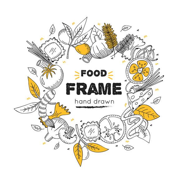 手绘食物框架
