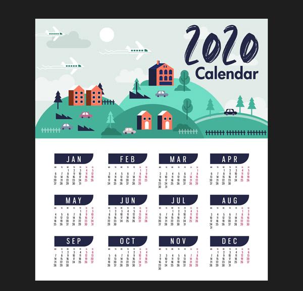 2020年城镇风景年历