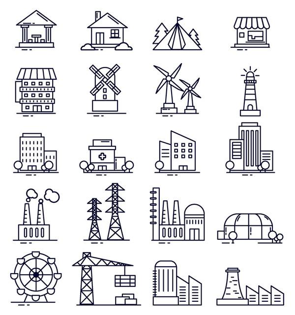 创意建筑图标
