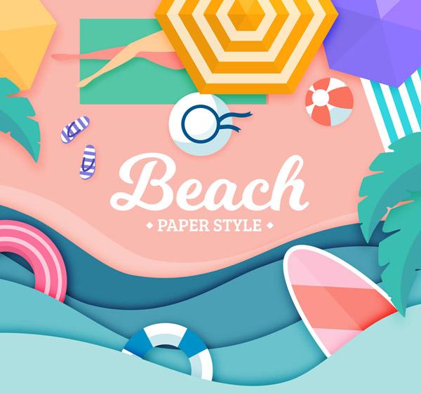 度假沙滩人物俯视图