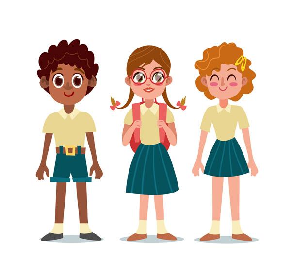 3个卡通学生