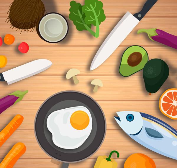 桌子上的厨具和果蔬