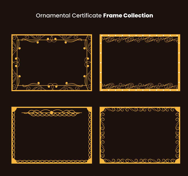 金色方形花纹框架