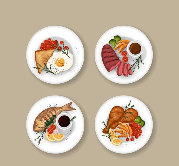 美味菜肴俯视图