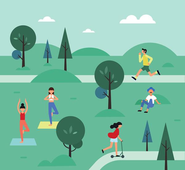 公园里的休闲娱乐人群
