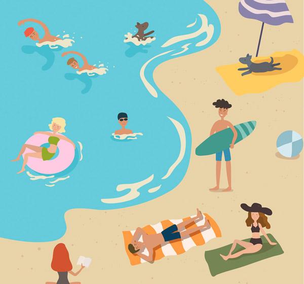 创意海边度假人群