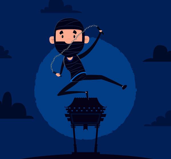 夜晚黑衣忍者