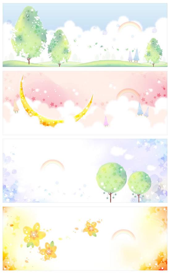 卡通风格横幅矢量图,星星,白云,彩虹,花朵,卡通风格,横幅背景,树木