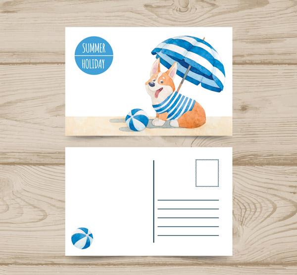 矢量名片卡片所需点数: 0   点 关键词: 水彩绘夏季柯基犬明信片矢量