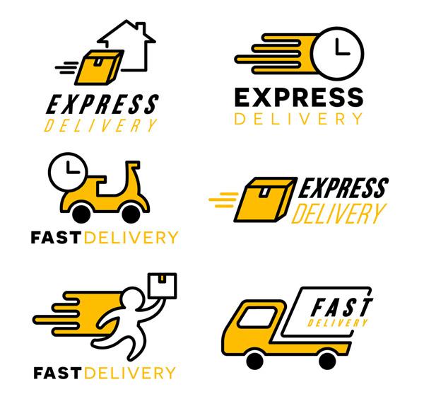 黄色快递运输标志