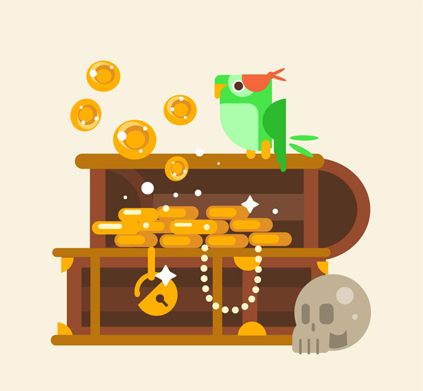 藏宝箱和鹦鹉