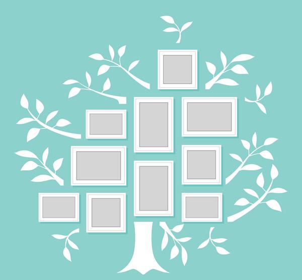白色树形照片墙