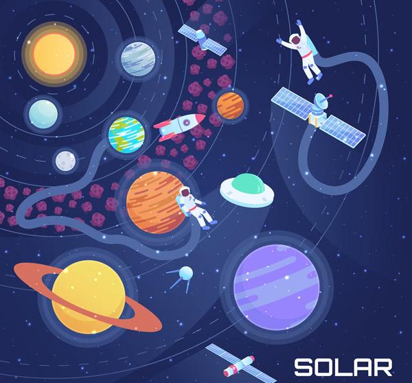 太空星球和飞船风景