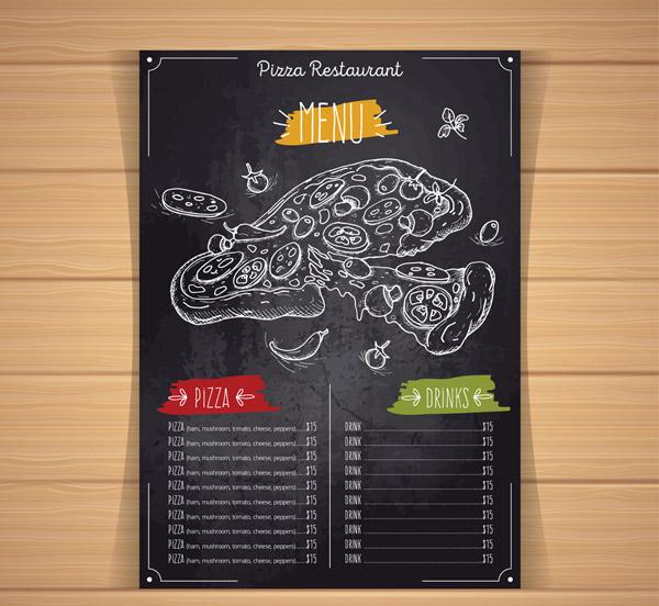 手绘披萨店菜单