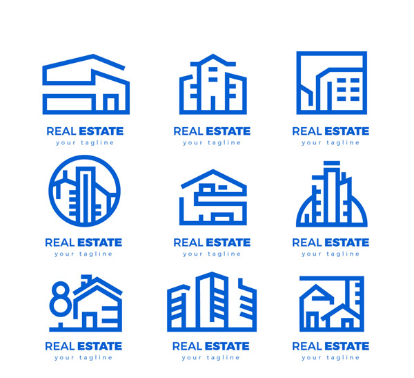 蓝色房地产标志