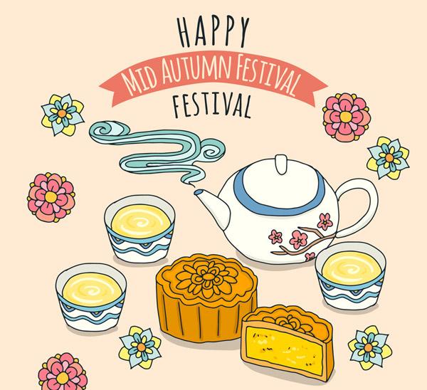 中秋节月饼和茶水