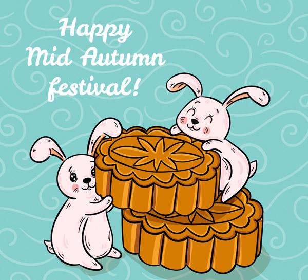 中秋节月饼和兔子