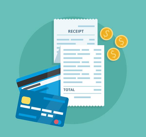 信用卡和收据矢量