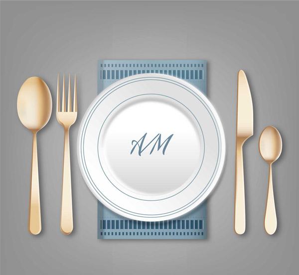 餐盘和餐具矢量