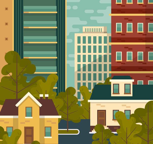 城市绿树楼群风景
