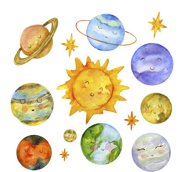 可爱表情太阳系行星