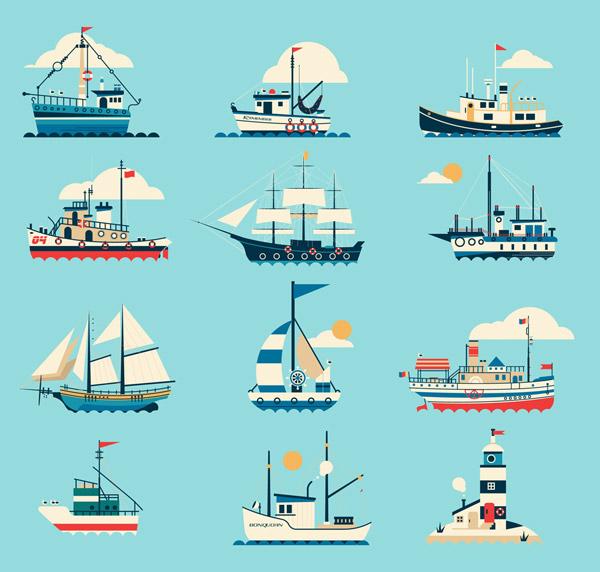 海上船只和灯塔