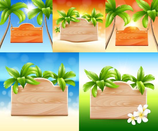 点 关键词: 热带植物装饰木牌矢量素材,热带植物,装饰木牌,椰树,鲜花