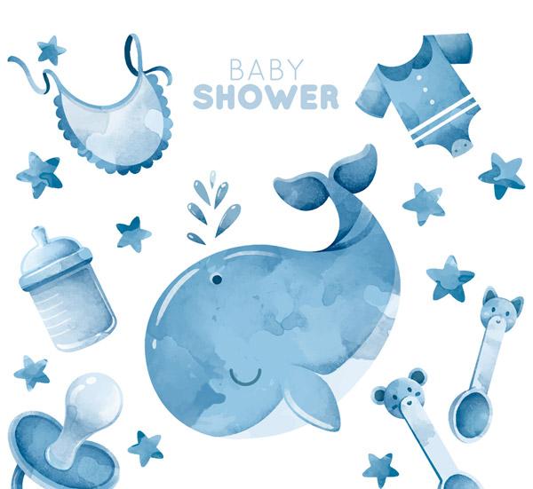 蓝色迎婴派对元素