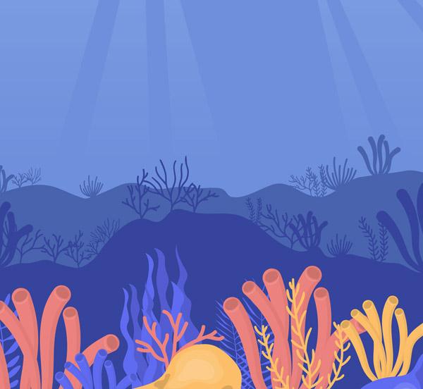 卡通海底珊瑚风景