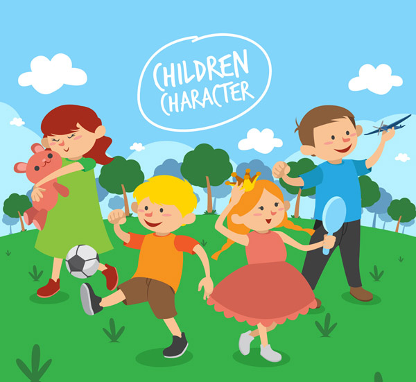 郊外玩耍的儿童