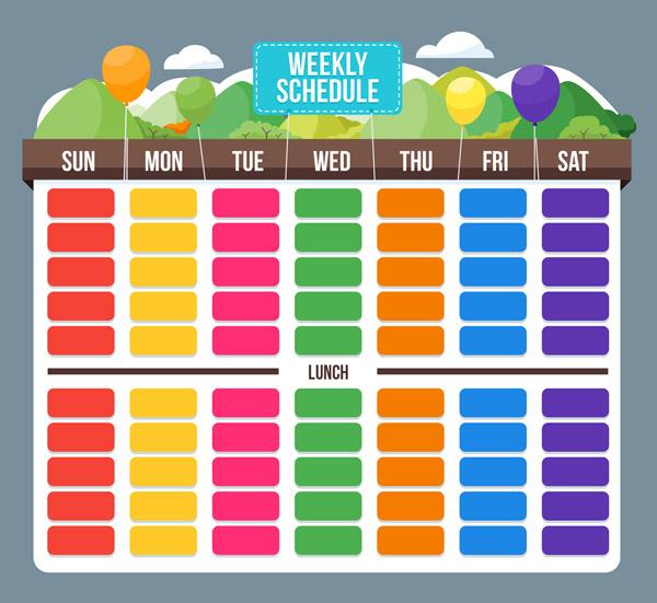 彩色周计划表