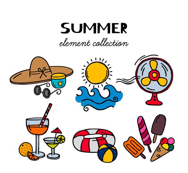 彩色夏季度假物品