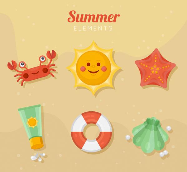 可爱夏季元素