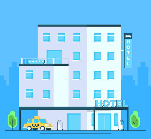 扁平化蓝色旅店