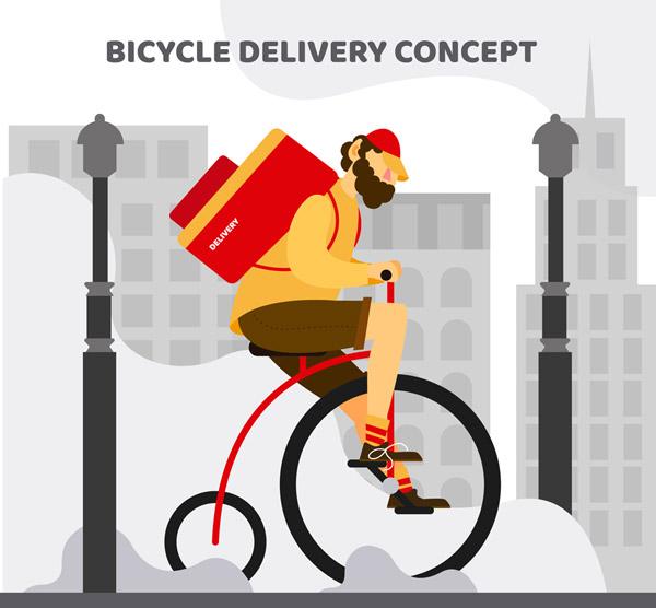 骑单车的快递男子