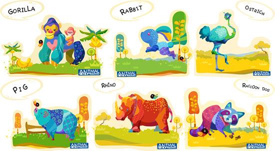 Painted animal illustrations