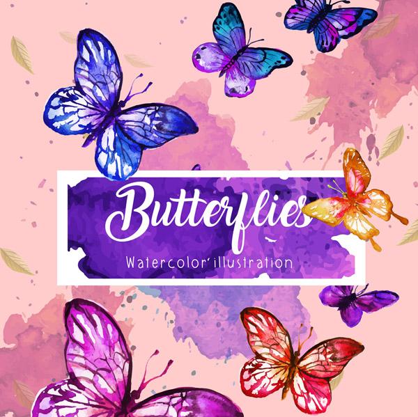 水彩绘美丽蝴蝶