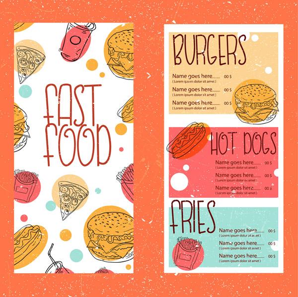 彩绘快餐菜单