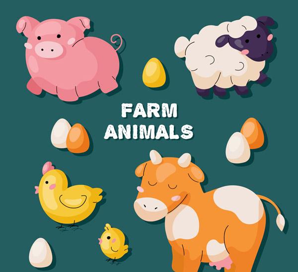 农场动物贴纸