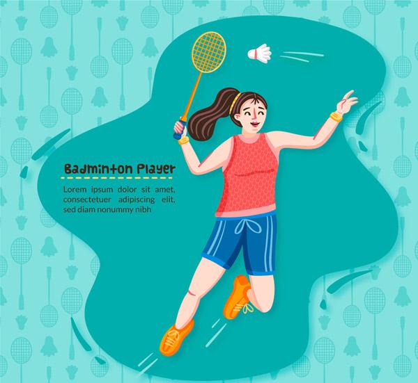 打羽毛球的女子