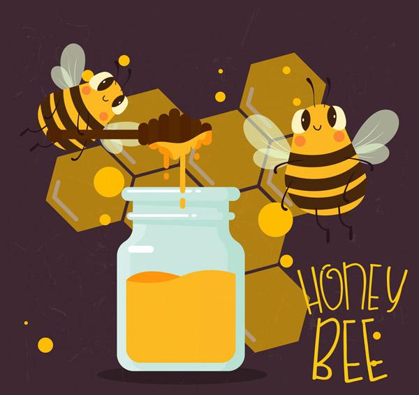 可爱蜜蜂和蜂蜜